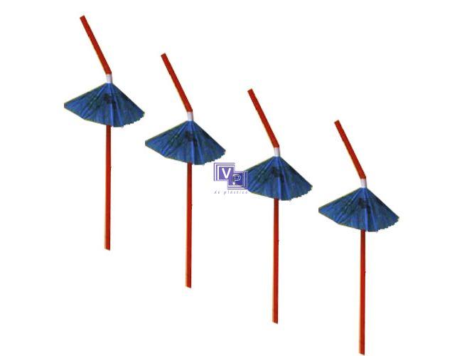 Cañitas / Pajitas de plástico flexibles con Adorno Sombrilla - 22 cm - 1200 unidades