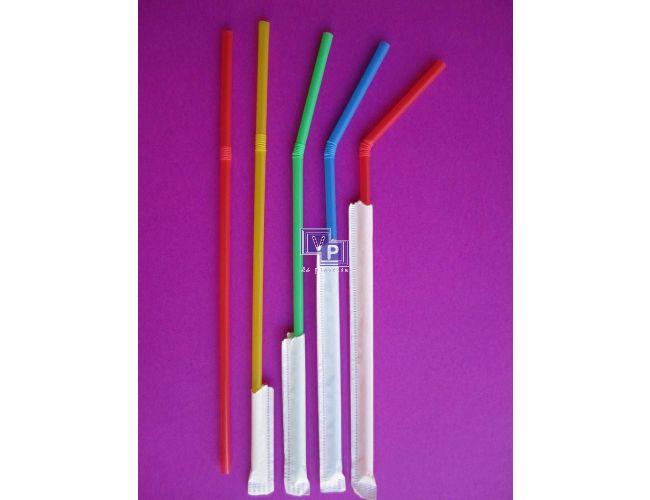 Cañitas / Pajitas de plástico flexibles enfundadas - 5 mm x 23cm - Caja de 10000 unidades