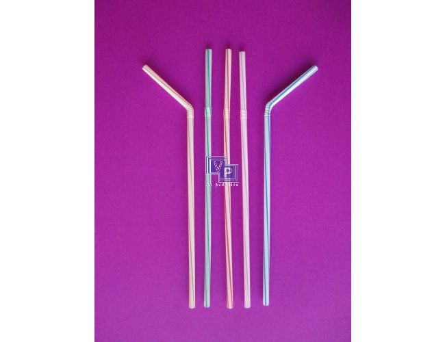 Cañitas / Pajitas de plástico flexibles rayadas B250 - 5 mm x 23cm - Caja de 10000 unidades