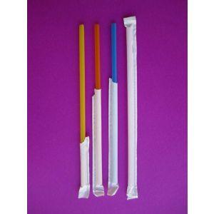 Cañitas / Pajitas de plástico para Granizados enfundadas - 6mm x 20cm - Caja de 10000 unidades