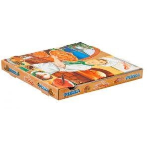 Caja de Cartón decorada para Pizza - 200 Unidades.